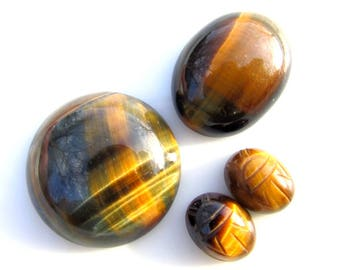 4 Tiger Eye Cabochonc - LOT of 4 - Natural Stone Cabs