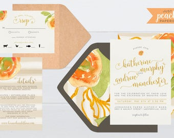 Peach and Gold Floral Wedding Invitation | printable | watercolor flowers | roses