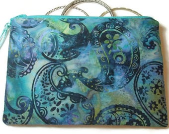 Padded Zipper Cosmetic Pouch in Hyacinth Paisley Batik Print
