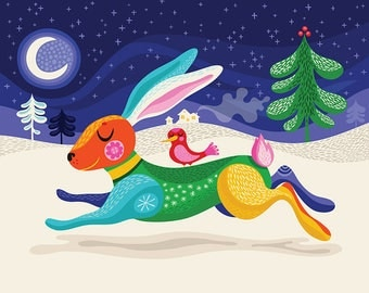 Run Bunny Run... - limited edition giclee print of an original illustration (8 x 10 in)