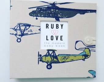 BABY BOOK | Vintage Planes Album | Ruby Love Modern Baby Memory Book