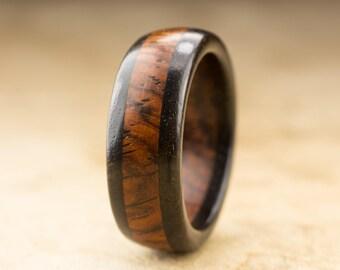 Size 8.75 - Cocobolo Ebony Wood Ring - 8mm