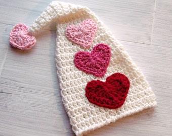Valentine Hearts Hat, Crochet Valentines Hat, Valentines Baby Hat, Baby Valentines Day, Crochet Heart Baby Hat, Crochet Baby Hat