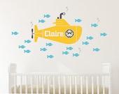 Yellow Submarine Girl Wall Decal Personalized Name Ocean Baby Nursery Underwater Sea Life Kids Nautical Room Theme Sub Decor