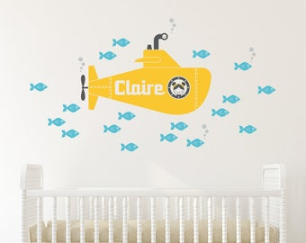 Yellow Submarine Girl Wall Decal Personalized Name Ocean Baby Nursery Underwater Sea Life Kids Room Decor