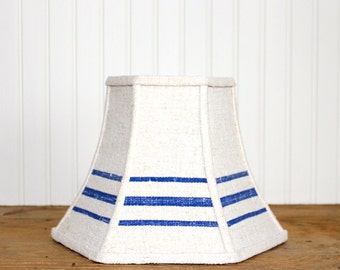Grain Sack Lamp Shade - Lampshade - Blue Stripe Lamp Shade - Rustic - Cottage - French Farmhouse - Industrial - Nantucket - Blue Lamp Shade