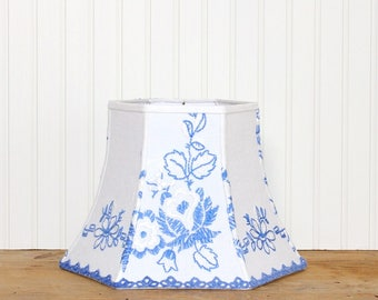 Blue Embroidered Lamp Shade - Vintage Linen - Cottage Decor - Shabby Chic - Bell Lamp Shade - Blue and White - Floral Lamp Shade - Sweet!