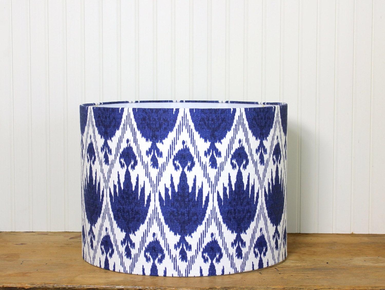 Ikat Drum Shade Lamp Shade Blue Lamp Shade Modern Drum