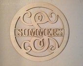 Unfinished Wood Name Monogram Circle Frame Vine Letter 17.5 diameter Door Hanger, Wall Decor, Est. Year, Name Sign, Personalized Your Name