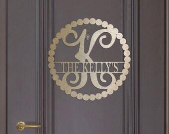 Unfinished Wood Name Monogram Dots Frame Vine Letter 17.5 diameter Door Hanger