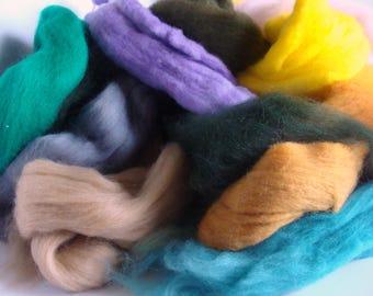 Merino Wool Roving Ends Lot  Spinning, Weaving, Art Yarn, Felting - Destash