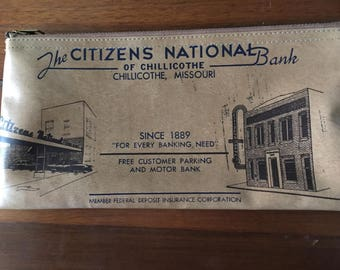 Vinyl Bank Bag Citizens National Bank Chillicothe MO