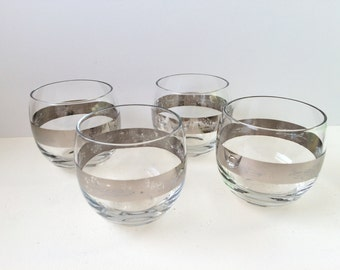 Silver Band Roly Poly Glasses, Airplane Theme Rocks Glasses, Set of Four