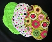 "10"" Heavy Flow Reusable Cloth Pad Trio ~ Lime Paisley, Pink and Lime Dot, and Pretty Posies Minky ~ by Talulah Bean"