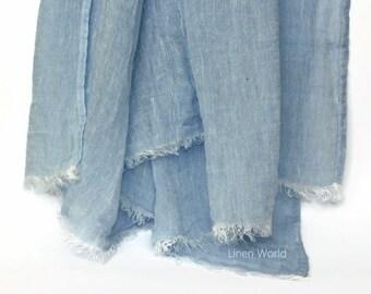 SALE Blue 100% Linen Scarf   Natural Men's Scarf   Women's Scarf Linen   Large Long Sky Blue Flax Scarves   Boyfriend Gift for Him