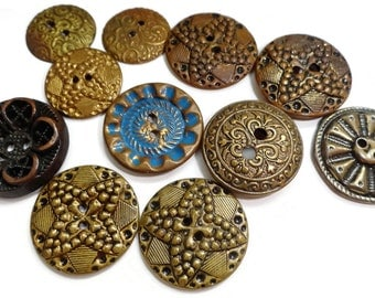 11 Antique Metal Buttons - 1800s Victorian to 1900s Edwardian Sew Through Gold Brass for Jewelry Beads Sewing Knitting