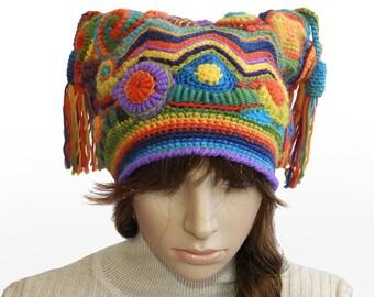 Women's Beanie Harlequin, Jester Hat Freeform Crochet Multi color Rainbow OOAK crochet hat with Tassels