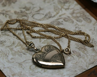 Vintage Gold Filled Heart Locket with Chain