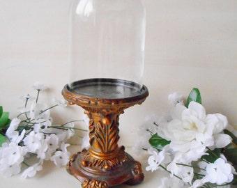 Vintage Petite Pedestal Glass Dome Set