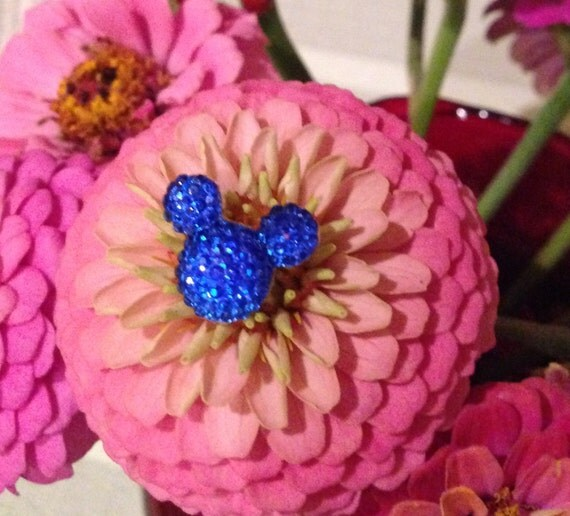 6 Hide Mouse Ears in your Bouquets for Disney themed Wedding Royal Blue Floral Pins Flower Picks