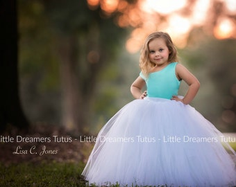 NEW! The Juliet Dress in Blue and White - Flower Girl Tutu Dress