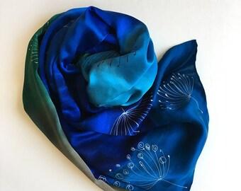 """Silk satin shawl- Royal Blue Dandelions Hand painted satin scarf 36""""x 68"""", Luxury satin shawl, Bridal shawl, Wedding accessory blue Gift her"""