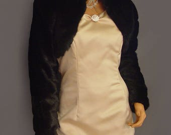 Faux fur bolero jacket in Mink with long sleeves and collar bridal coat, wedding shrug stole wrap FBA103 AVL in black and two other colors