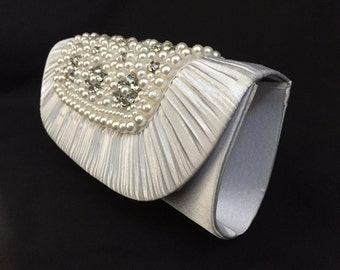 Vintage 1980's Faux Pearl, Rhinestone and Satin Clutch