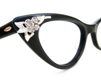 Vintage Cat Eye Glasses Eyeglasses Sunglasses Atomic Frame Pink Rhinestone Flower Accents