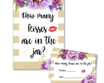 Digital Printable How Many Kisses in the Jar Bridal Shower Game with Purple Flowers on Gold KJ002