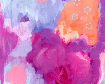 Colorful Abstract Painting, Art Print, Magenta, Lavender, Coral, Pink, Gray, Turquoise, Girl's Room Decor, Contemporary Wall Decor