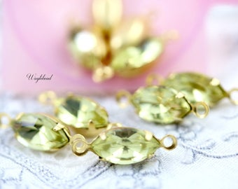 Vintage Glass Navette Stones Petite Drops Connector Link Marquise Brass Settings Jonquil Yellow 10x5mm - 6