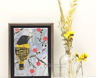 Whimsical, Canvas Art, Small Bird Art, Tree Branch, Original, Collage, Painting, Boho Bird, Oriole, Yellow Bird, 5 x 7