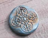 Raku style polymer clay large medallion pendant