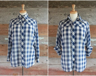1970s western shirt by Wrangler | blue gingham checkered pearl snap shirt | women's size m bust 36""