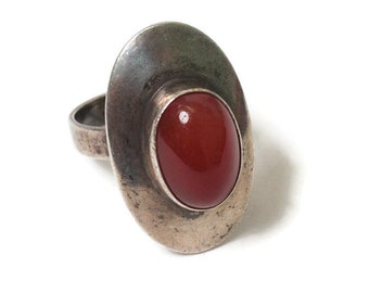 Sterling and Carnelian Modernist Ring Bezel Setting Size 6