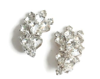 Large Clear Rhinestone Earrings Pear Cut and Chatons  Layered Silver Tone  Special Occasion