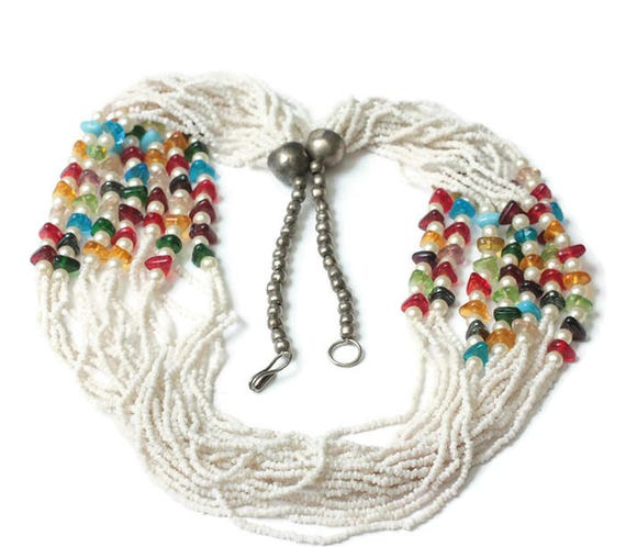 White Seed Bead Boho Necklace Faux Pearls Multi Color Beads Multi Strand Necklace Vintage