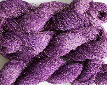 Sparkle, Hand painted fine cotton/metallic yarn, 300 yds - Grape Tonal