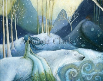 Fairy Tale Illustrations.  Special edition art print with gold leaf.  East of the Sun, West of the Moon by Amanda Clark. Winter scene, Polar