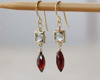 Garnet Earrings, Black Diamond Glass, Gold Elegant Earrings, January Birthstone, Everyday Earrings, Almandine Earrings, Spring Trend, Gift