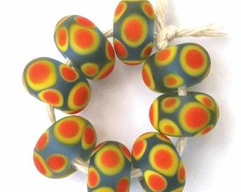 Blue Orange and Yellow Spotty Artisan Lampwork Beads