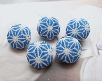 Japanese Traditional Blue Asanoha Floral Geometry Geometric Pattern-Handmade Fabric Covered Buttons(0.55 Inches, 5PCS)