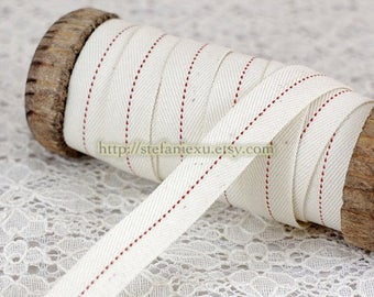 Natural Linen Sewing Tape/Ribbon - Simple GrAy Chic Red Dotted Line  Twist