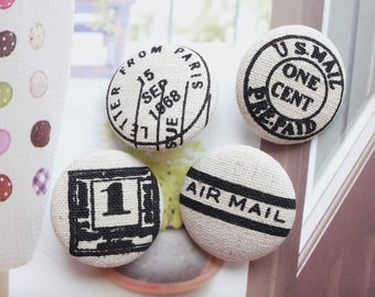 Retro French Style US Postal Air Mail Script Number Stamps, Black On Natural White-Handmade Fabric Covered Buttons(1.1 Inches, 4PCS)