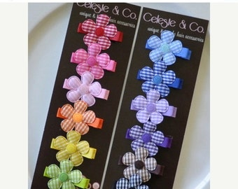 Baby Hair Bows - Infant Hair Clips - Baby Hair Clips - Rainbow - 12-Pack Gingham Alligator Clips - Babies, Infants, Toddlers and Girls