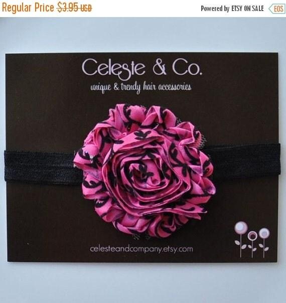 Valentine Headband - Baby Headband - Infant Headband - Toddler Headband - Newborn Headband - Shabby Chic Flower - Pink and Black Damask