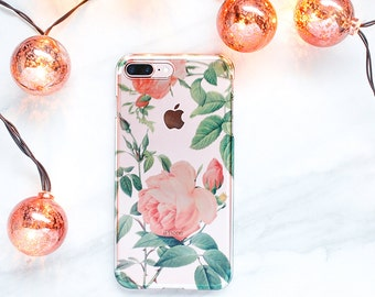 Rose Pattern Clear iPhone 6s, 7, Plus, Case Gift For Her, Floral iPhone, Gift for Mom