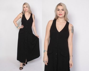 Vintage 80s Button Front Dress / 1980s Black Wool Sleeveless Minimalist Maxi Dress