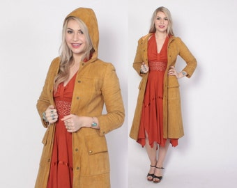 Vintage 70s LEATHER JACKET / 1970s Buttery Soft Deerskin Suede Honey Brown Leather Trench with Hood